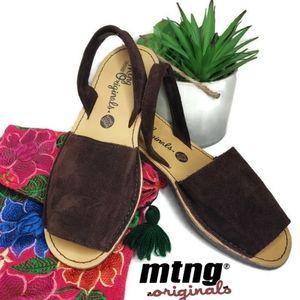 MTNG Tabar Serraje brown Peep Toe Slingback Sandal